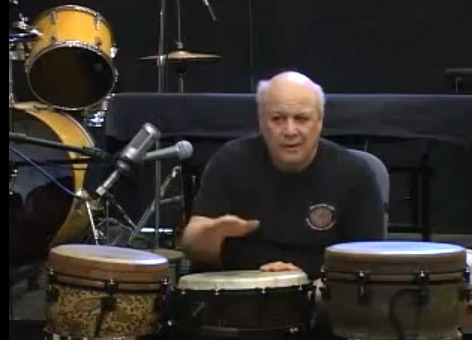 photo of E.J. Gold conducting drumming class online